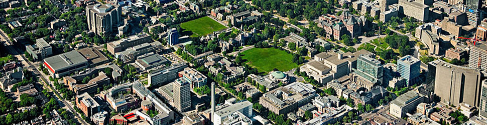 An aerial                 view of U of T Downtown Campus