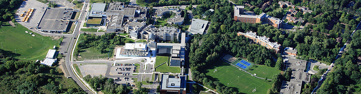 An aerial                 view of U of T Mississauga Campus